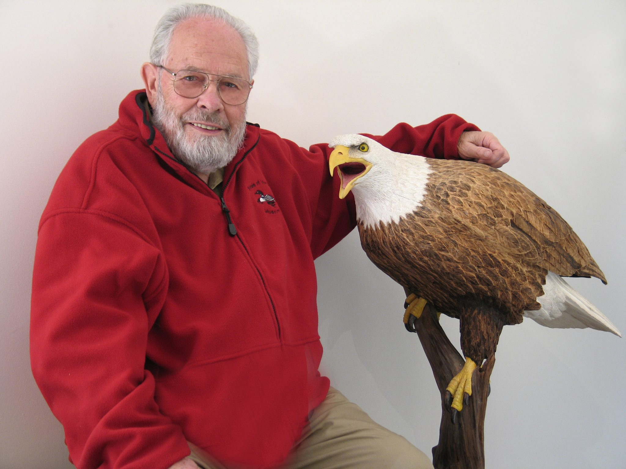 Bob Spear, Woodcarver, and his Bald Eagle carving