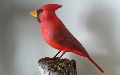 Northern Cardinal Male carved by Dick Allen